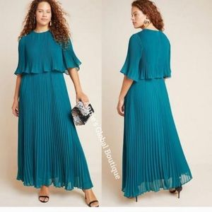 Anthropologie Beautiful teal pleated gown /dress